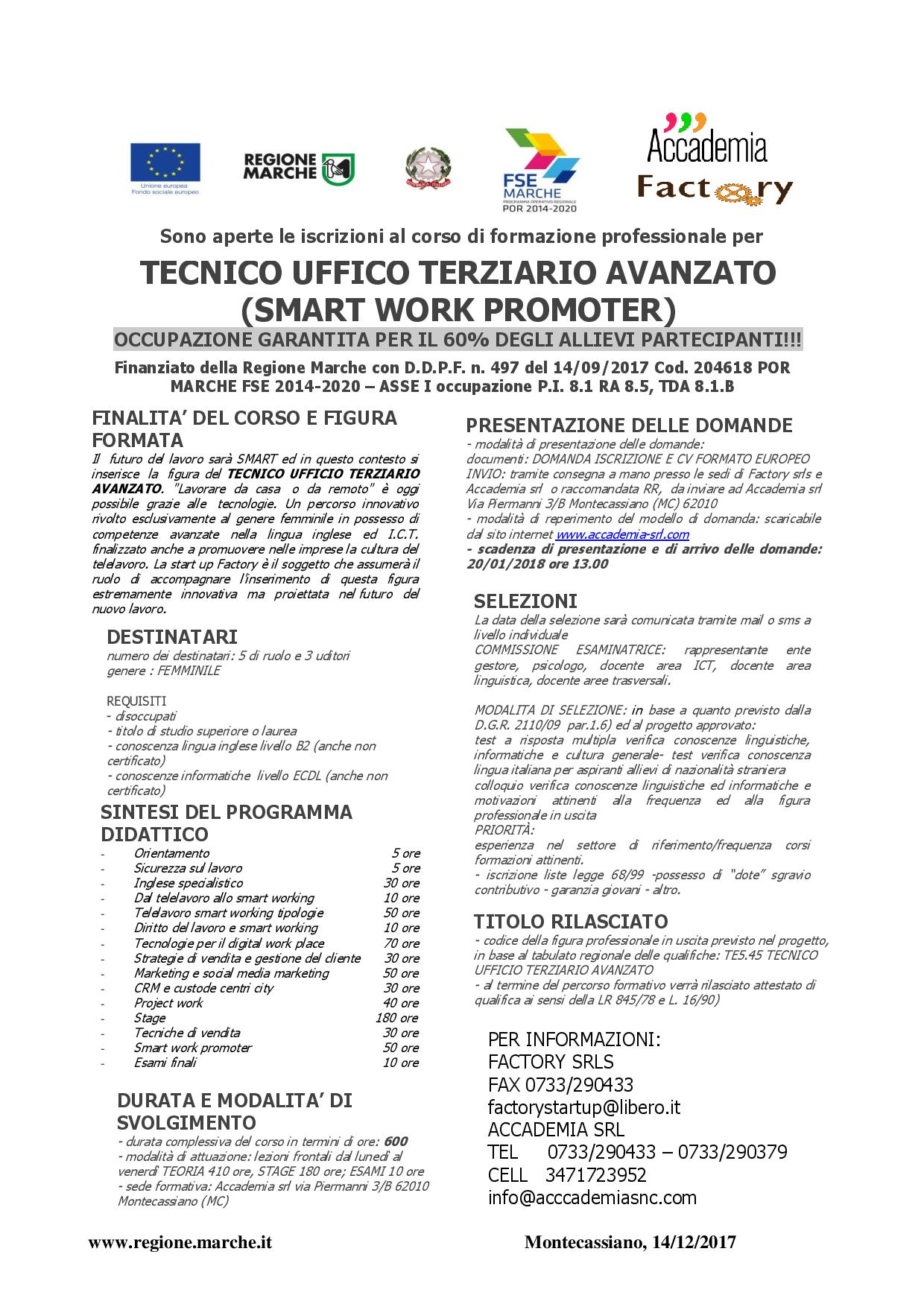 Smart Work Promoter Tecnico Ufficio Terziario Avanzato Accademia Srl